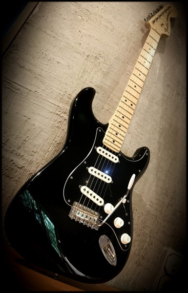 Kloppicaster Strat, black, Mapleneck, Fender US Parts